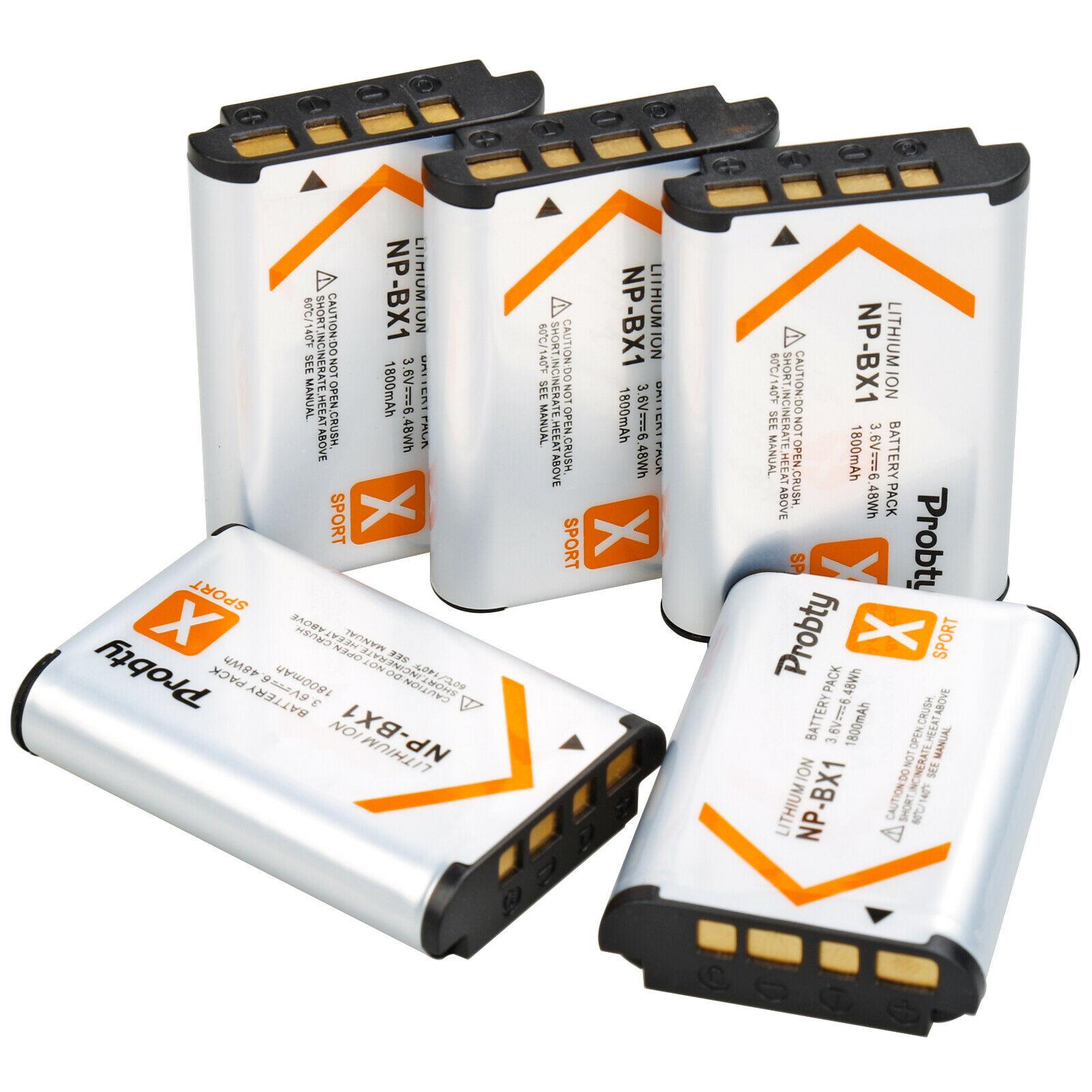 5 uds 1800mAh NP-BX1 BX1 baterías de la Cámara batería AKKU paquete para Sony DSC-RX100 IV RX10 II RX1 HX300 WX300 WX500 HDR-AS15 CX240E