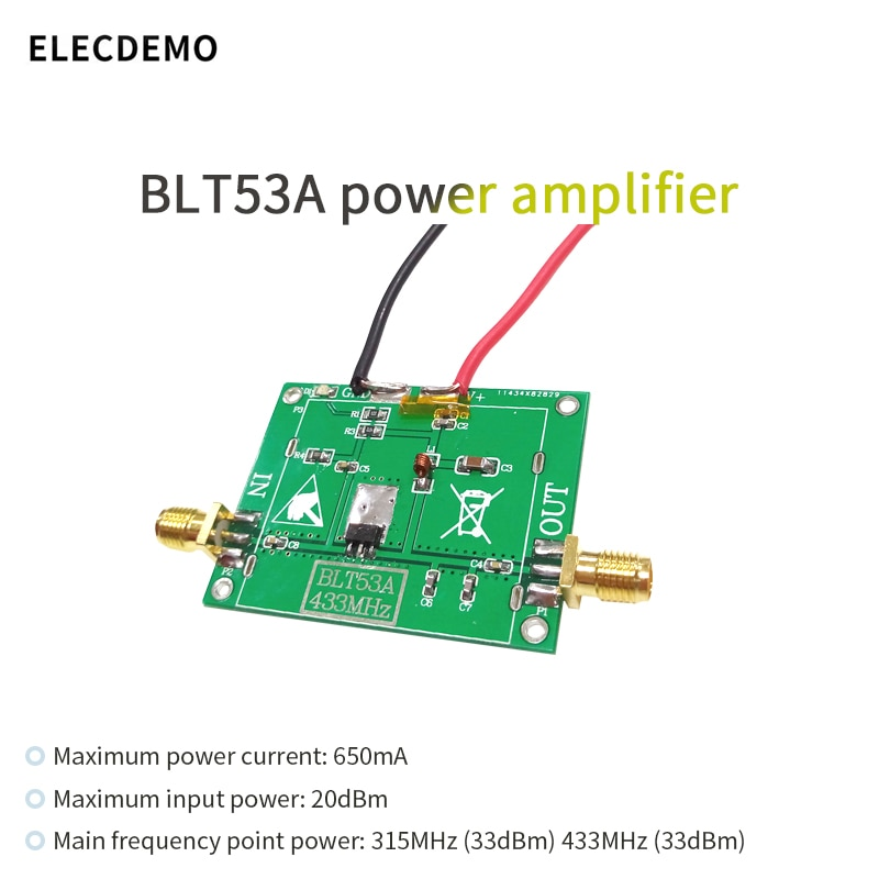 BLT53A Module RF power amplifier  433M Low voltage version 3.7v with si4463, SI4432 broadband high gain function demo board opa843 module wideband low distortion unity gain stabilization voltage feedback operational amplifier function demo board