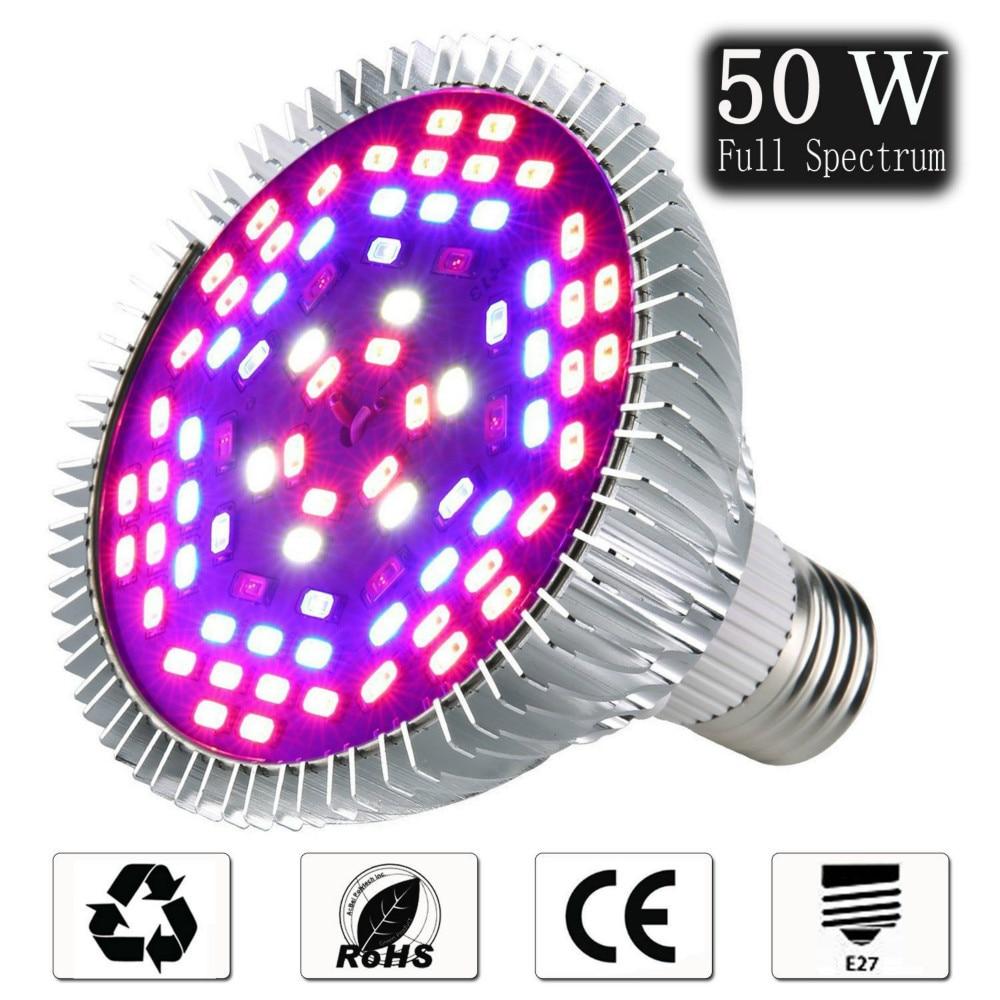 Led Grow Light Bulb E27 30W 50W 80W 100W Full Spectrum 220V IR UV Lamp Plant Flower Seedling Grow Tent Hydroponic Growth Light