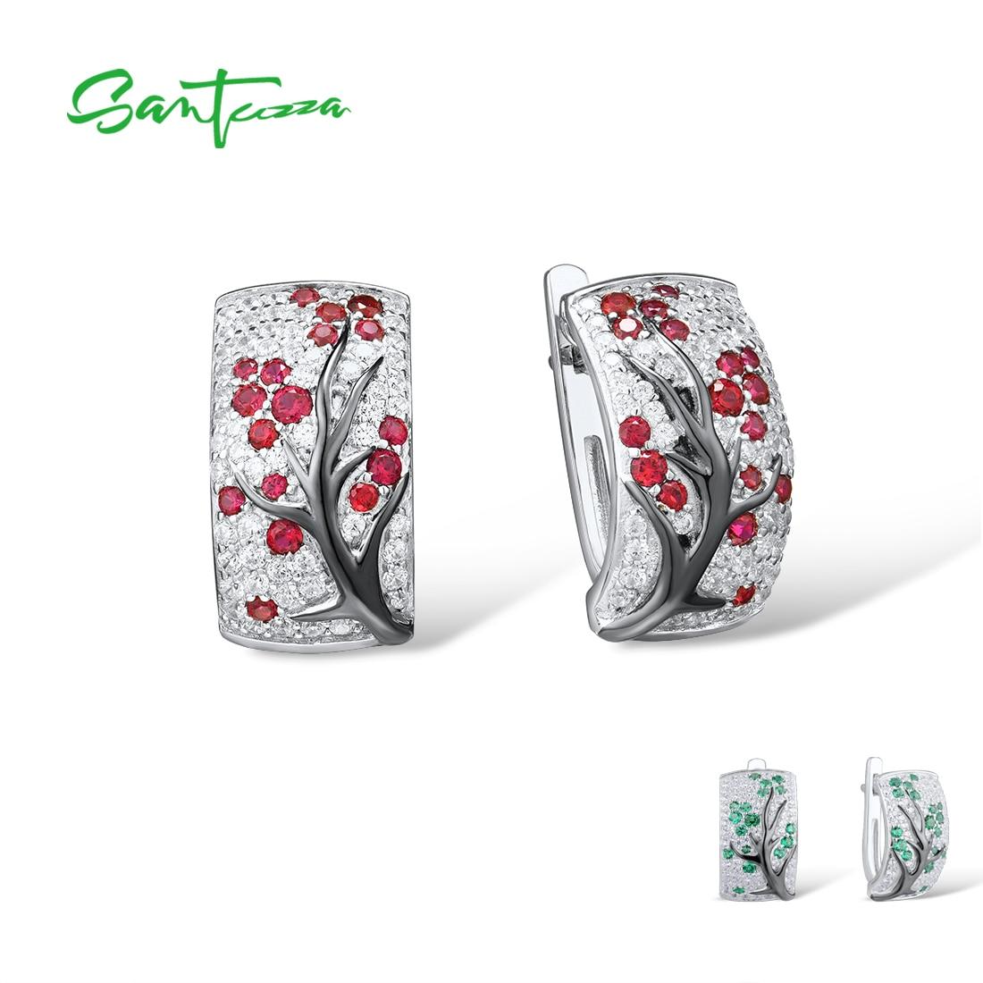 SANTUZZA الفضة أقراط للنساء نقية 925 فضة الوردي الأخضر الكرز تألق زركون brincos مجوهرات الأزياء