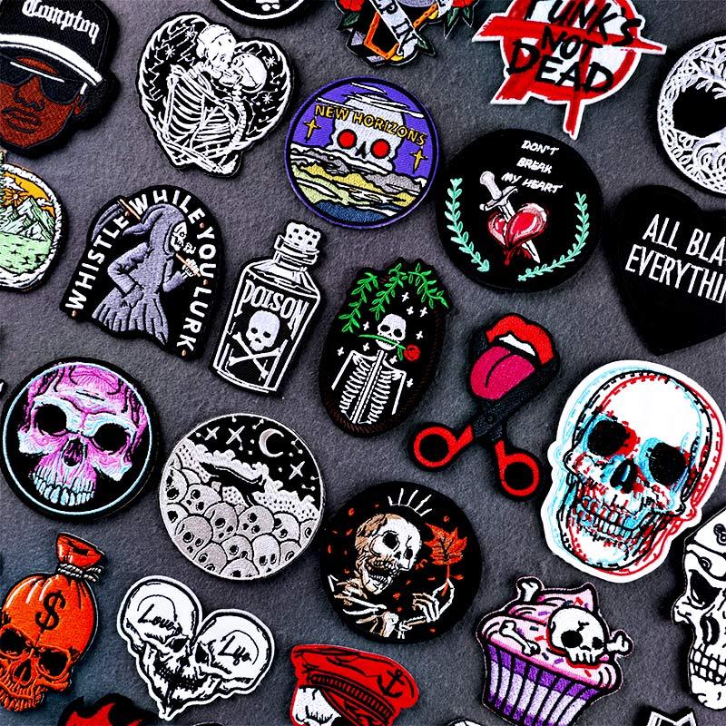 Хиппи рок череп утюгом нашивки для одежды вышитые нашивки губы в стиле панк металлические музыкальные байкерские наклейки значки аппликац...