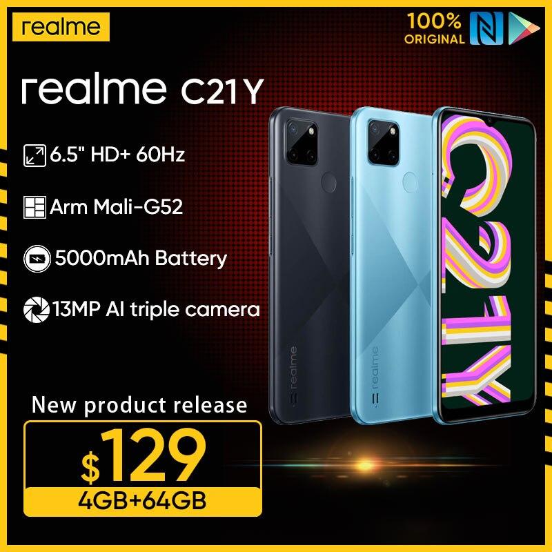 Смартфон realme C21Y, 4 + 64 ГБ, 8 ядер, 6,5 дюйма, 5000 мА ч