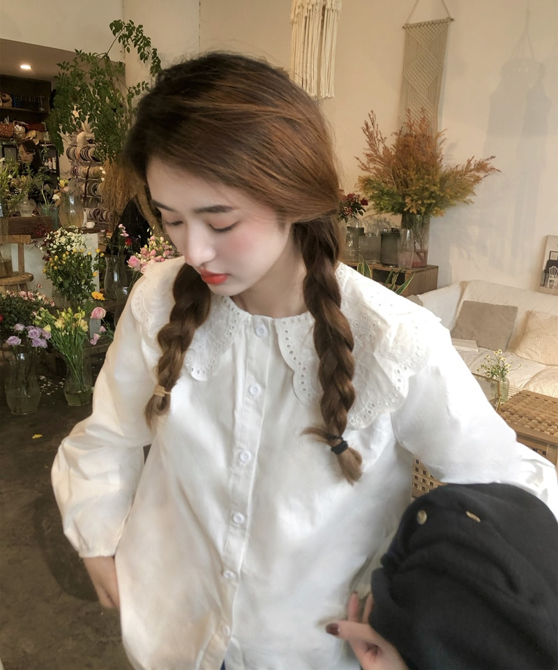Blouses Female White Baby Collar Shirt Female Spring And Autumn 2021 New Small Shirt Sweet Long Slee