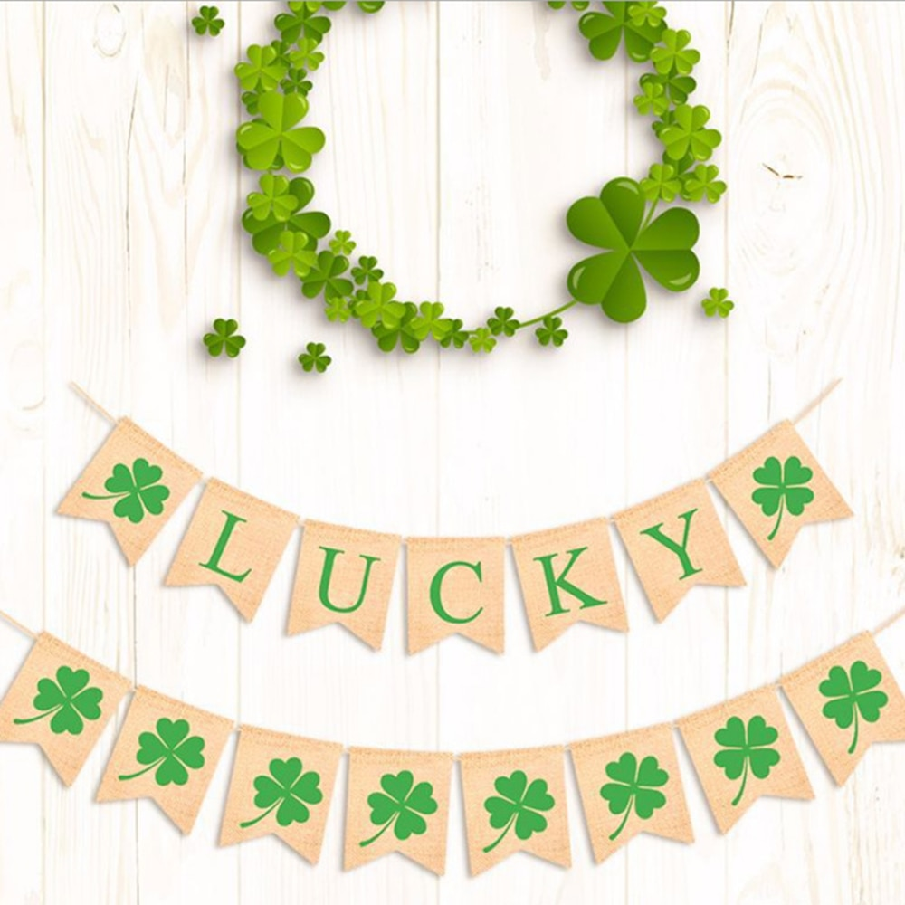 1pc St Patricks Tag Banner Glitter Irland Shamrock Vier Kleeblatt Banner Flagge Party Dekoration Foto Requisiten