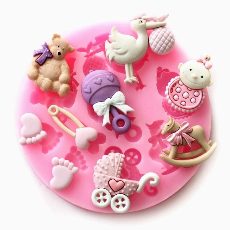 3D Силиконовые Детские вечерние формы для украшения торта, силиконовые формы для помадки, формы для поделок из сахара, инструменты форма для ...