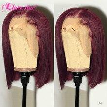 Perruque Bob Lace Front wig brésilienne naturelle Non Remy-Jazz Star   Cheveux lisses, bordeaux 99J, 13x4, pre-plucked, densité 150%