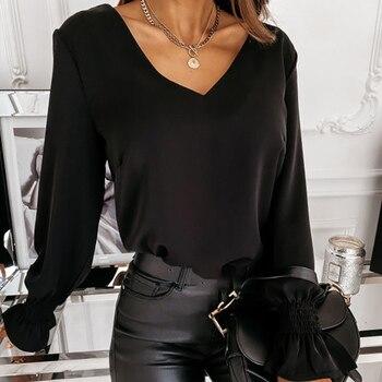 Dentelle couture sur le dos femmes Blouse à manches longues col en v unique femme Blouses automne nouveau solide Simple tout-Match dame vêtements