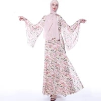 abu dhabi turkish islamic ladies fashion dress floral chiffon trumpet sleeve retro a line skirt evening dress muslim arab robe