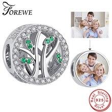 100% 925 en argent Sterling Photo personnalisé charme vie de larbre famille perles convient de luxe marque Bracelet bricolage femmes bijoux faisant cadeau