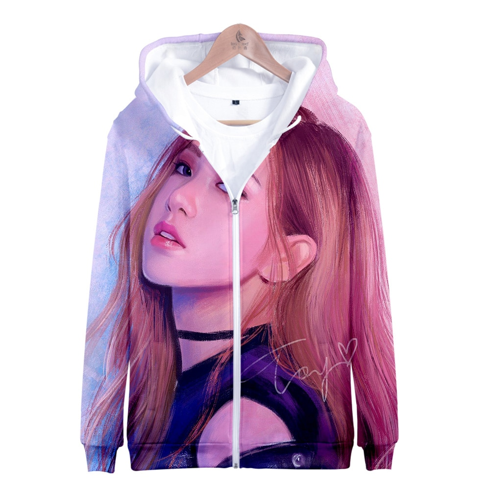 Sudadera con capucha de manga larga a la moda para mujer/hombre con cremallera impresa 3D kpop 2019