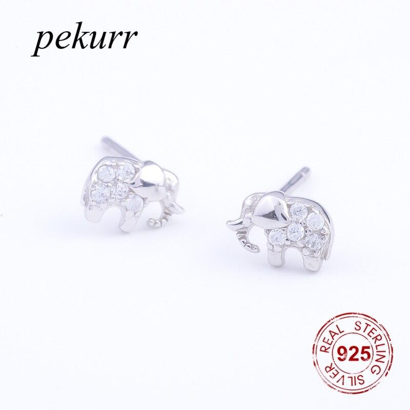 Pekurr Classic Zircon Bead Elephant 925 Sterling Silver Women Stud Earrings Fashion Jewelry For Women Accesories