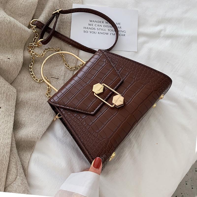Stone Pattern PU Leather Crossbody Bags For Women 2021 Fashion Small Cross Body Brand Designer Lady Shoulder Bag Luxury Handbags