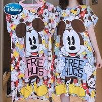 Женская ночная рубашка Disney с коротким рукавом и принтом Минни, ночные рубашки, ночное белье