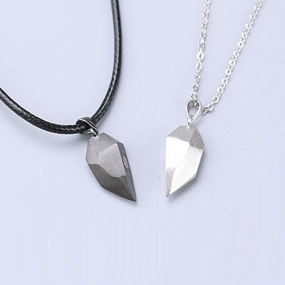Magnetic Couple Heart Shape Necklace Punk Style For Men Jewelry Wedding Lovers Couples Valentine's Day gift Gifts the lovers day gifts