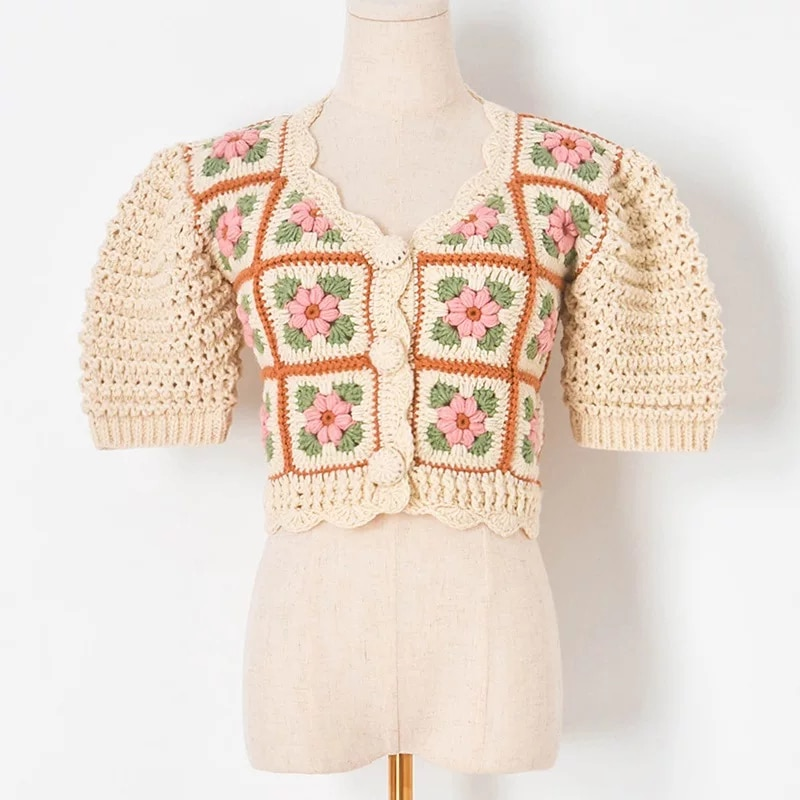 2021 Autumn Women's New Style Hand Hook Thick Thread Flower Lantern Sleeve Short-Sleeved Knitted Sweater Cardigan Women enlarge