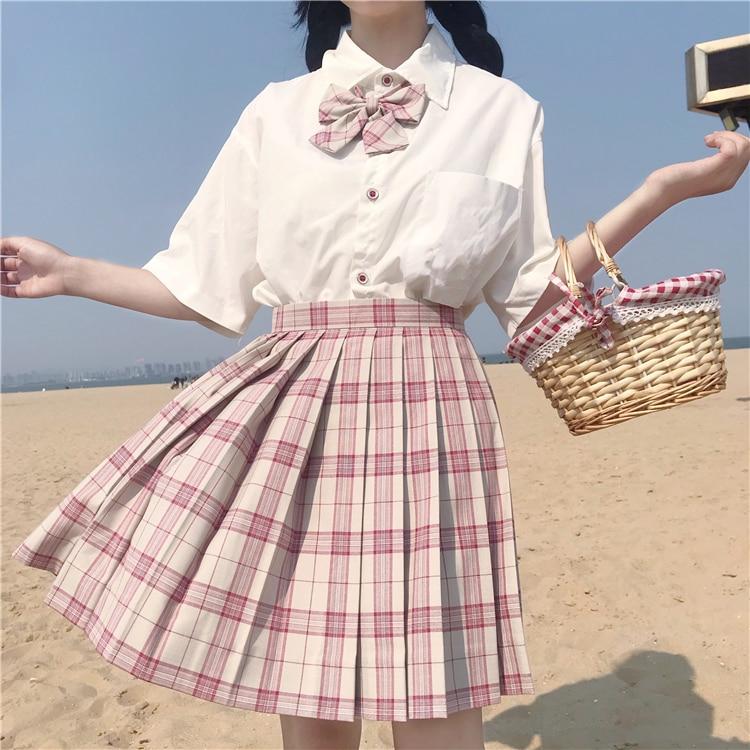 2020 New Summer Women's Clothing Japanese JK Uniforms Short Sleeve Shirt with Tie + Plaid Skirt Set  japanese school uniform