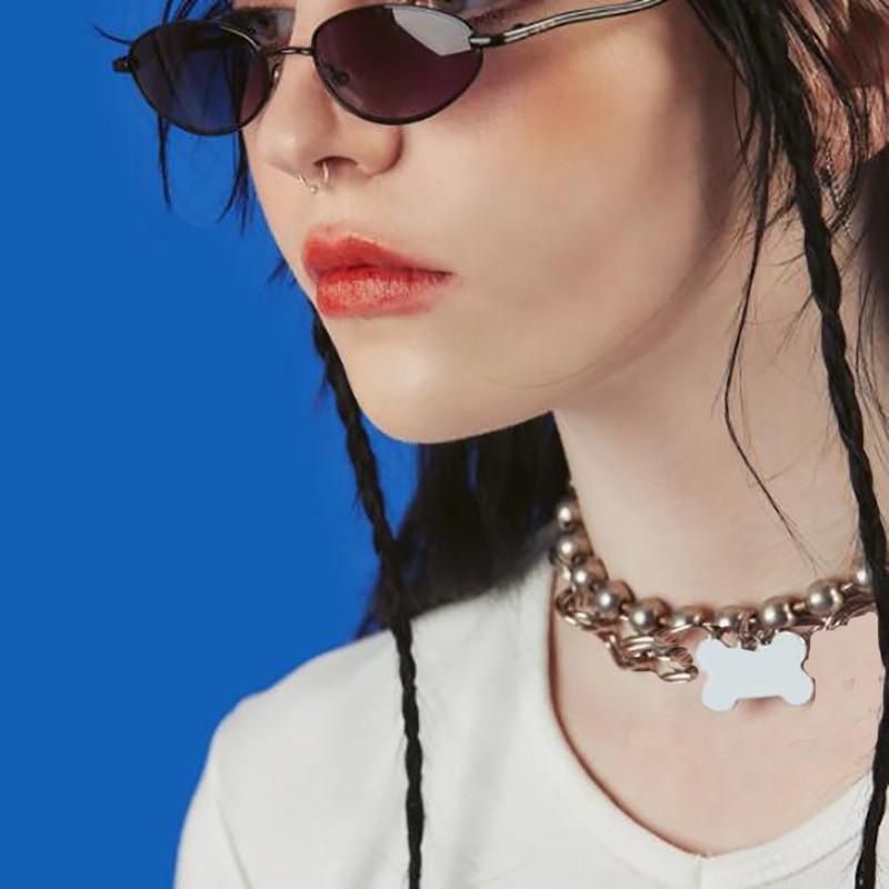 Collar gargantilla en forma de hueso Unif Ins caliente Punk moda Acero inoxidable colgante Collares Harajuku niñas cuentas Collares Mujer