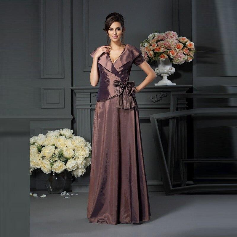 المرأة أحدث طول كامل التفتا كم قصير فساتين أم العروس الخامس العنق القوس الطية رداء حفلات الزفاف 2020