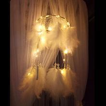 Pendentif suspendu de fabrication romantique de receveur de plumes blanches délicates de chaîne de lumière LED pour la décoration de chambre à coucher de ménage