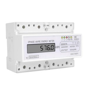 SINOTIMER DDS576 Three Phase 4 Wire Digital Electric Electricity Meter DIN Meter Rail Mount AC 380V 5 (100) A 50Hz