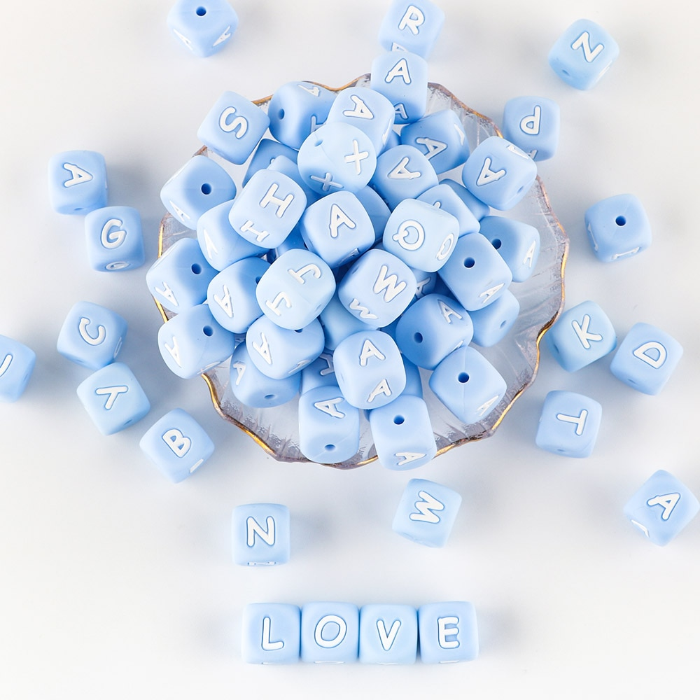 Sunrony 500pcs Blue Letter Silicone Beads 12mm Baby Teether Beads Chewing Alphabet Bead For Personalized Name DIY Teething enlarge