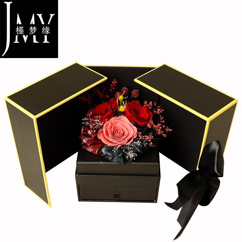 Caja de regalo de flor seca eterna, venta al por mayor, Clavel rosa, el día de San Valentín para la novia, fabricante