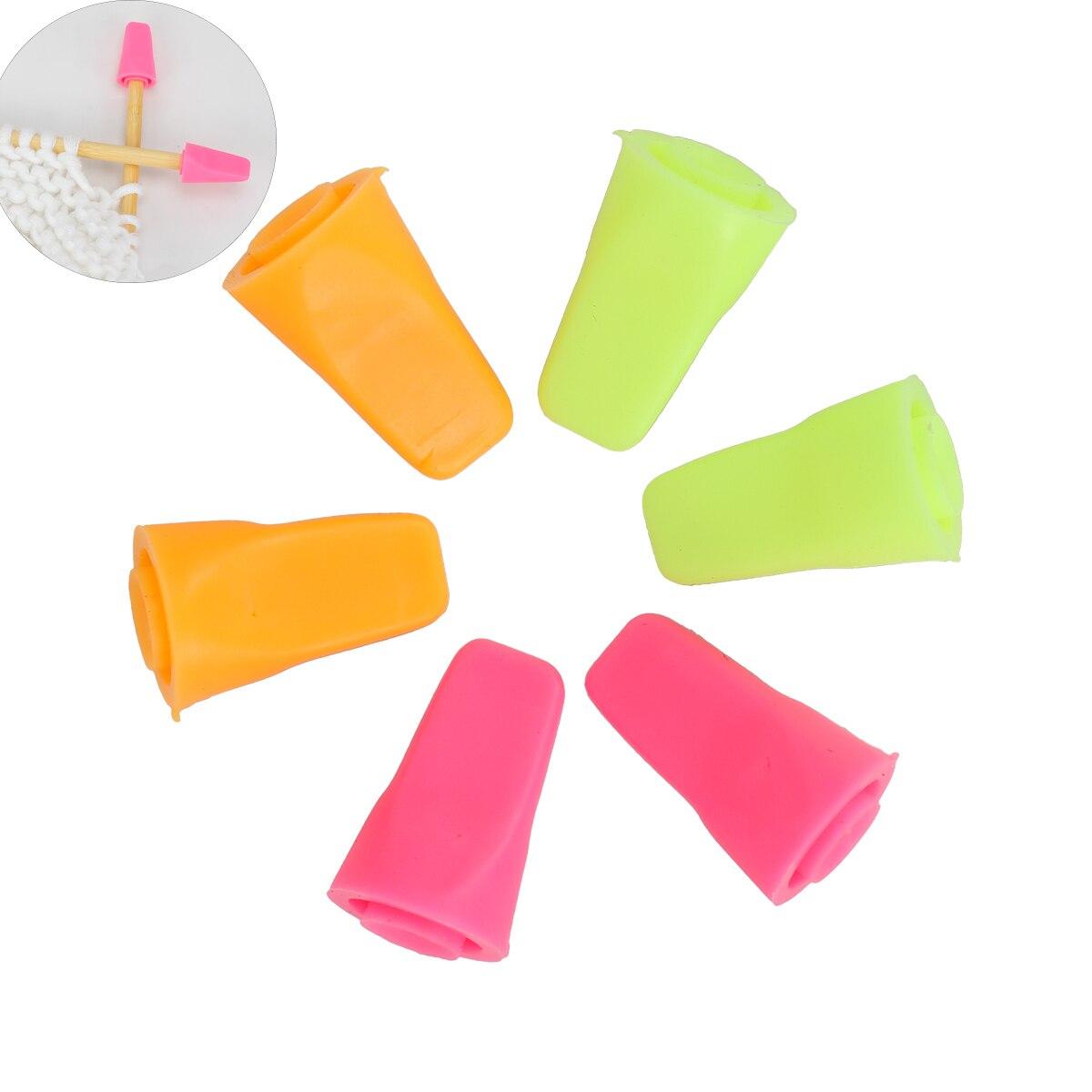 Bolsa de 6 unids/bolsa de goma, mezcla de colores, protectores para Punta de aguja de coser, tapón para puntas, tapa para agujas, accesorios para herramientas de costura