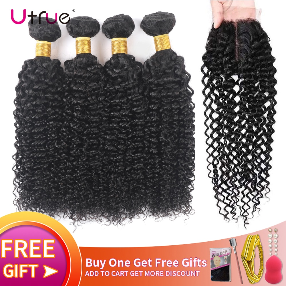 Kinky Curly Bundles And Closure Curly Human Remy Hair Bundles With Closure 3/ 4 Bundles Curly Bundles With Closure