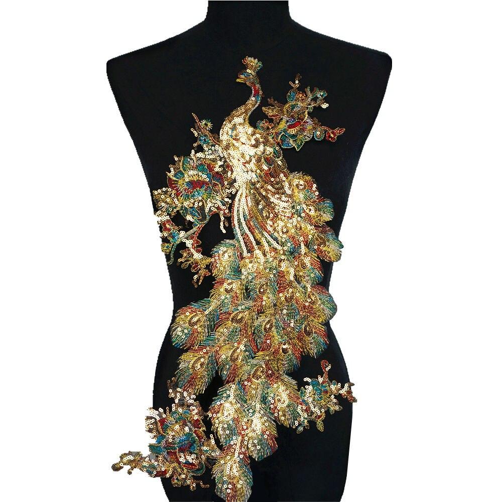 Arco Iris lentejuelas pluma Pavo Real Peahen coser parches bordados insignias brillantes apliques para ropa de vestir decoración DIY