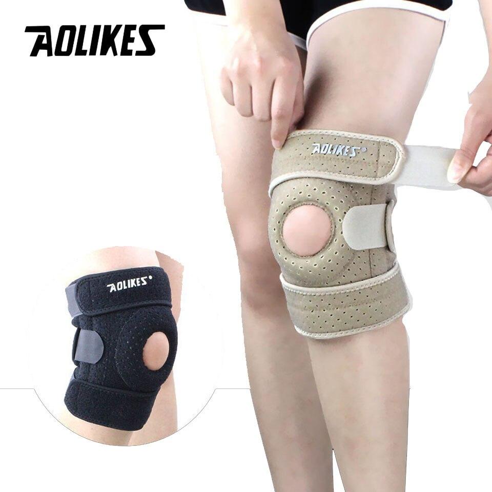 Наколенники AOLIKES, 1 шт., регулируемые эластичные наколенники для занятий спортом, наколенники с отверстиями, безопасные наколенники