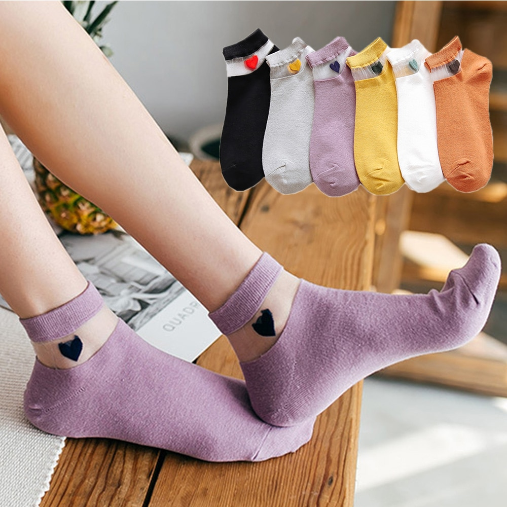 2020New Fashion Spring Summer Women Street Boat Socks Transparent Love Heart Cotton Shallow Short Socks Female Hosiery