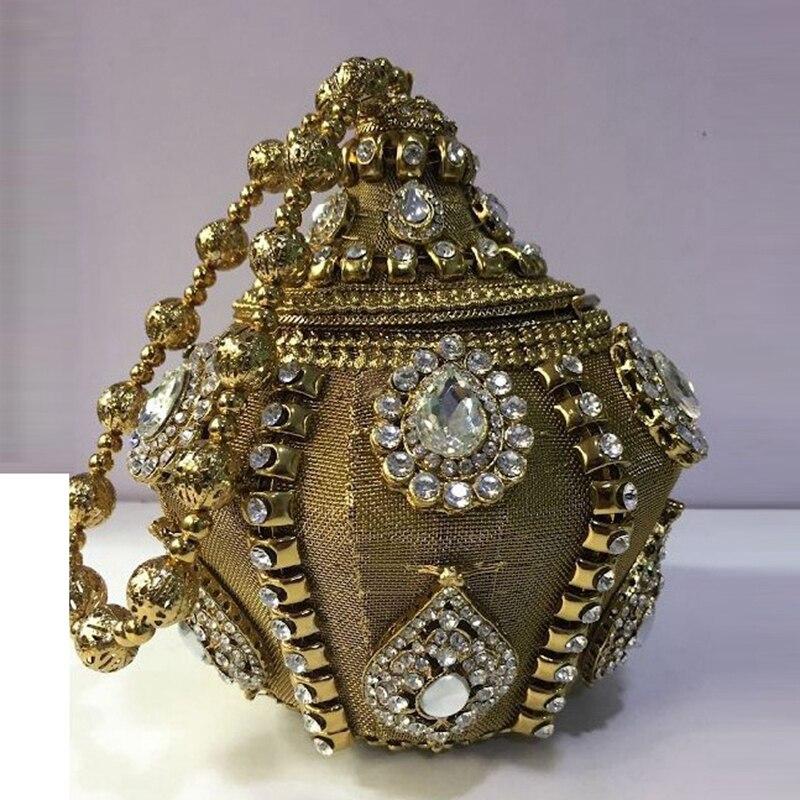 DOYUTIG-حقيبة زفاف معدنية ذهبية اللون للنساء ، عتيقة ، هندي ، حزام بمقبض قصير ، حقيبة سهرة كريستالية ريترو للنساء ، F734