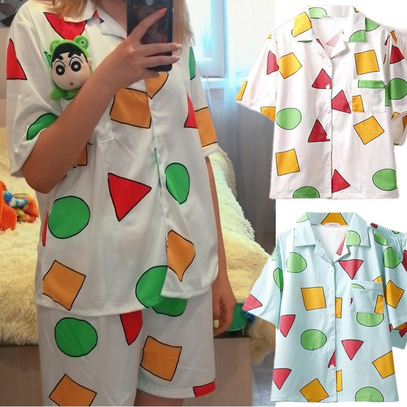 Short Sleeve Pajamas Set for Women Cotton Sleepwear 2Pcs Nightwear Crayon Shinchan Cute Print Homewe
