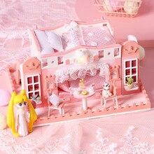 Nouveau bricolage maison de poupée en bois princesse fille château Architecture rose maisons de poupée Miniature avec meubles jouets pour fille enfants cadeau