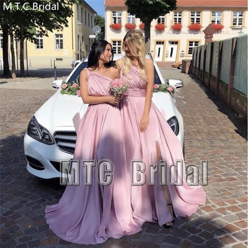 Pink One Shoulder Long Bridesmaid Dresses With Slit Cheap Maid Of Honor Wedding Party Dress Plus Size Women Gowns Wholesale