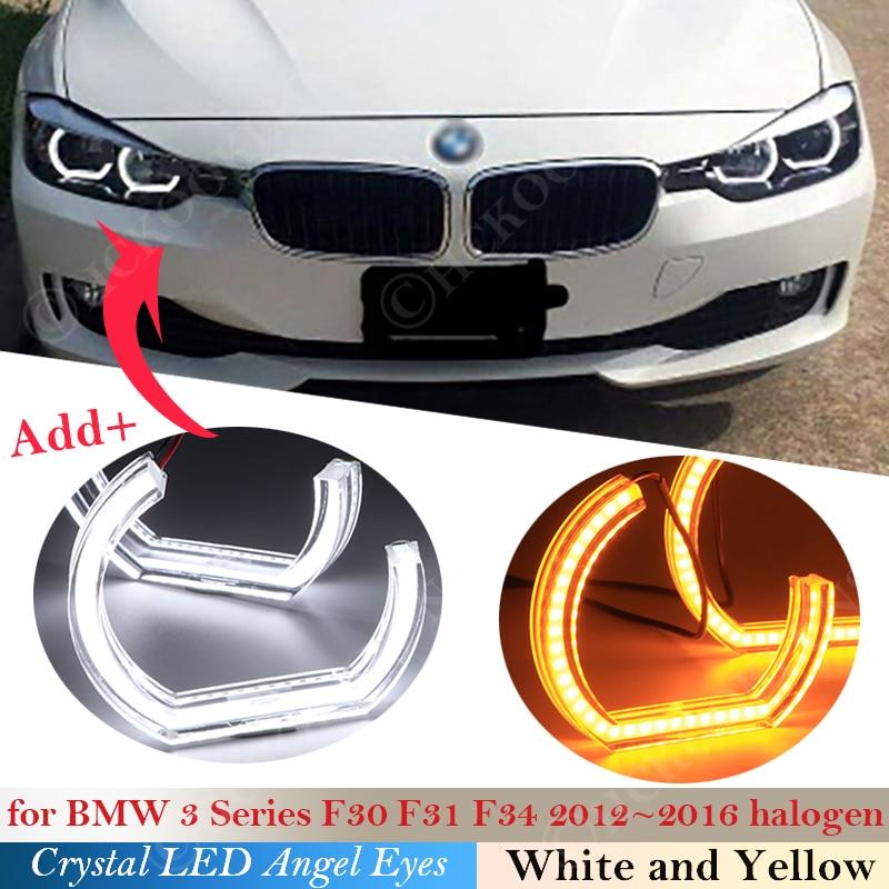 Kristall LED Angel Eyes Für BMW 3 Serie F30 F31 F34 2012 -2016 Halogen scheinwerfer DTM Stil Halo Ringe licht kits Drehen Signal