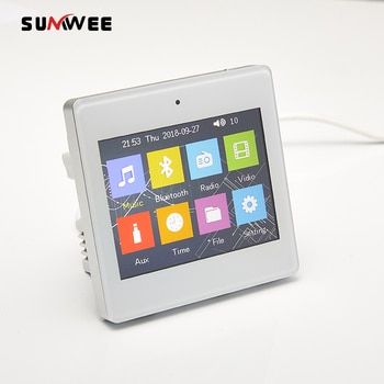 3.5 inch music controller touch screen mini in-wall amplifier 4 way background music system