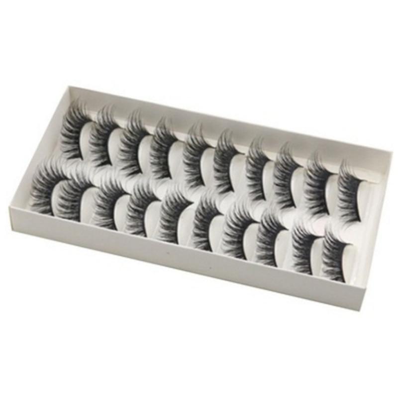 10Pairs Multipack Natural False Eyelashes Soft Cross Mink Lashes Multilayer Fake Mink Eyelashes Wome