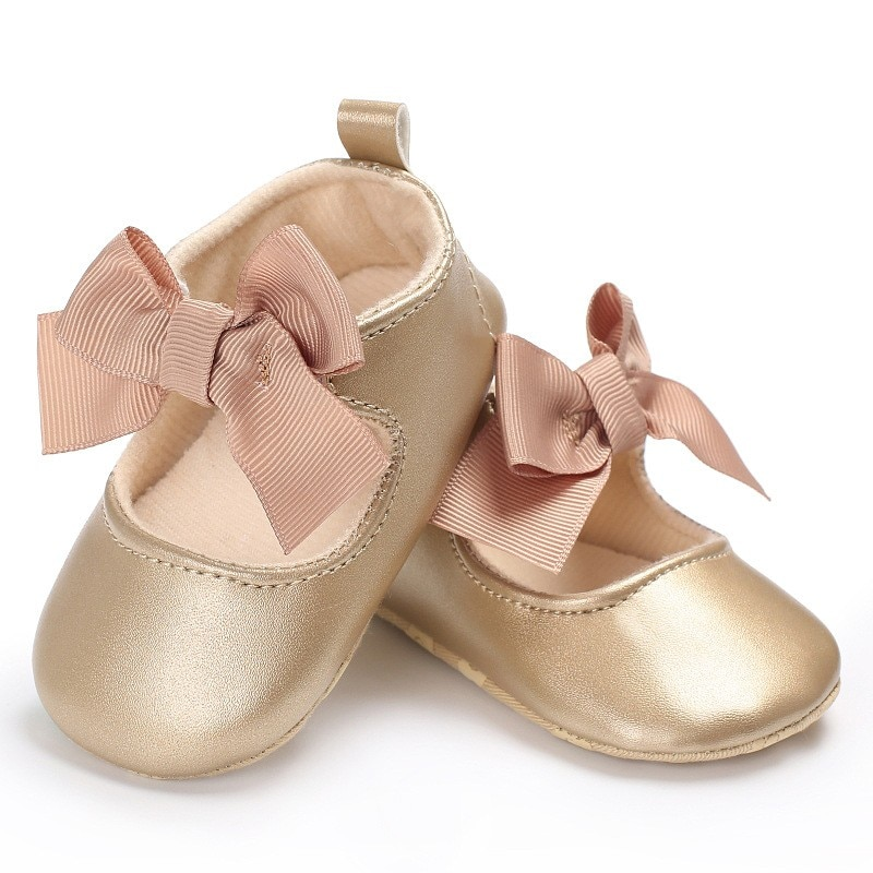 2020 Infant Toddler Baby Girls Shoes Soft PU Princess Shoes Bow Bandage Infant Prewalker Newborn Baby Shoes 0-18M