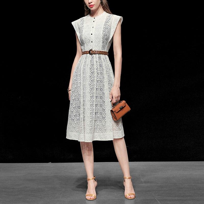 Seifrmann, vestido de pasarela a la moda de verano para mujer, Vestido de manga corta con botones, fajas de encaje, dibujo en blanco, vestidos Midi de fiesta para mujer 2020