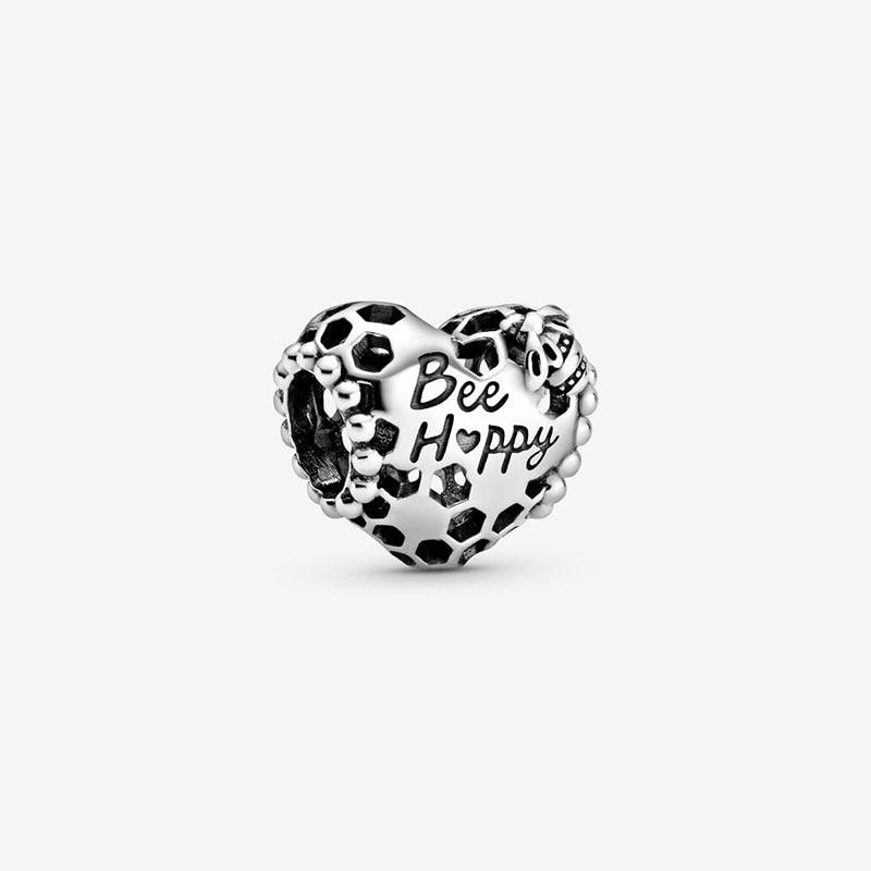 2020 primavera nuevo cuentas de plata esterlina 925 abeja feliz panal corazón encantos Ajuste Original europeo pulseras mujeres DIY joyería