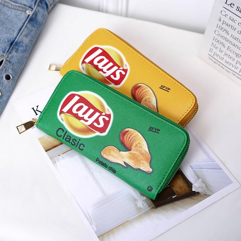 Новинка 2020, женские кошельки, забавные кошельки для картофельных чипсов, женские повседневные кошельки средней длины с несколькими кармана...