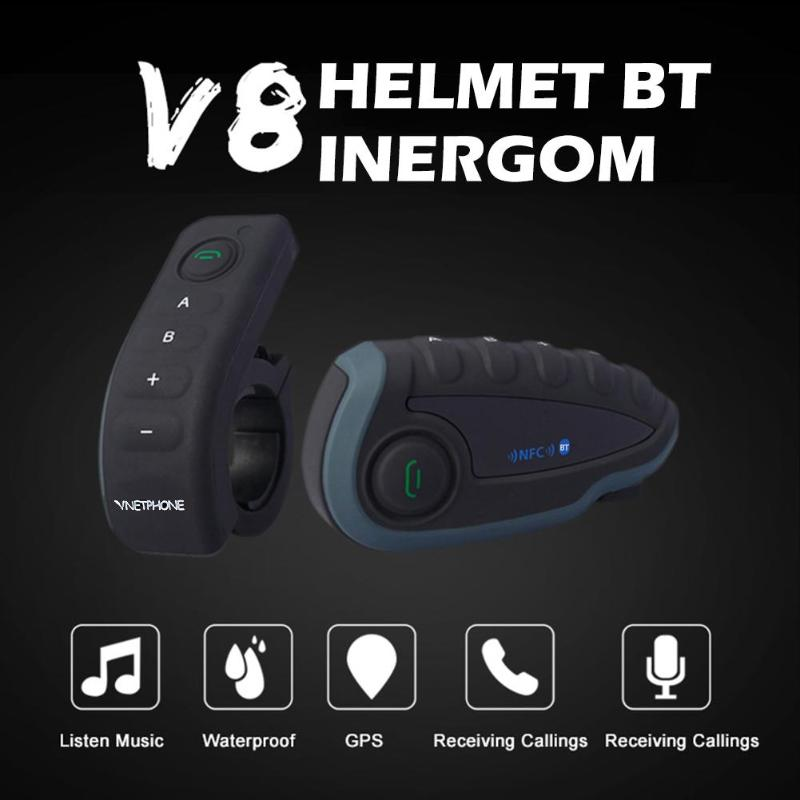 Auriculares bluetooth VODOOL V8 para casco de motocicleta para 5 conductores, intercomunicador inalámbrico BT, Radio FM NFC con Control remoto