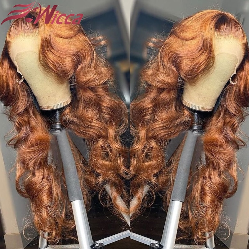 Ginger Brown Body Wave Wig Brazilian Human Hair Wigs Pre Plucked 4x4 Lace Closure Wig Transparent Lace Front for Women