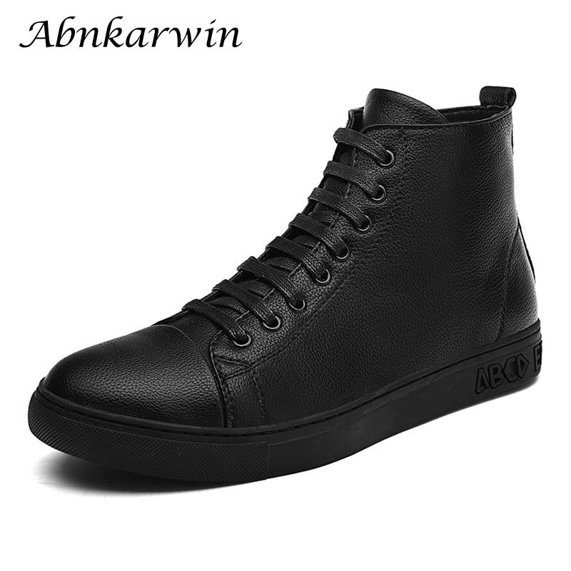 حذاء رياضي من الجلد الأسود للرجال ، حذاء رياضي برقبة عالية ، كاجوال ، هيب هوب ، مقاس 48 ، خريف وشتاء