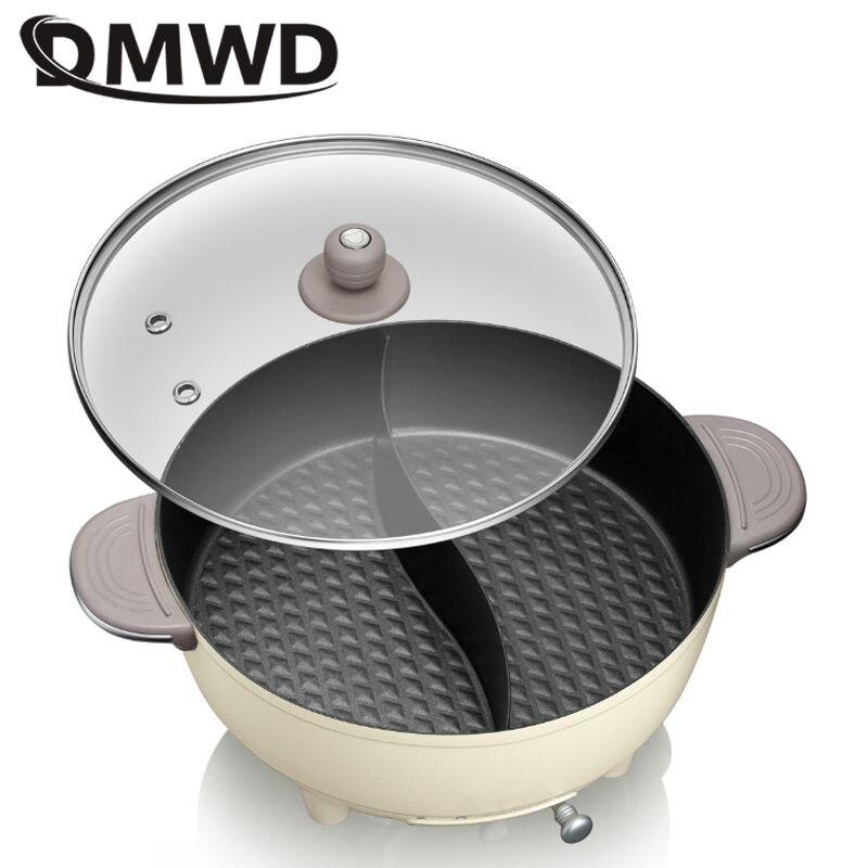 Olla multifunción para el hogar DMWD, olla caliente eléctrica, olla de cocina para sopa, Mini sartén dividida doble, olla de Guisar antiadherente