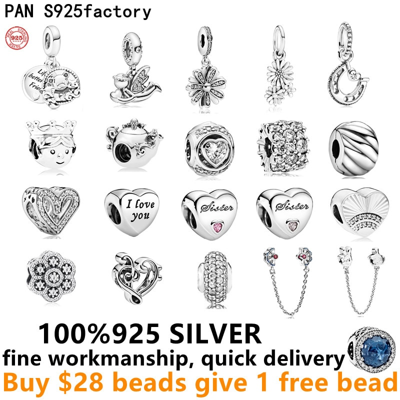 Free Delivery 925 Sterling Silver Dangle charms Safety Chain Clip Diy bead fit pando bracelet