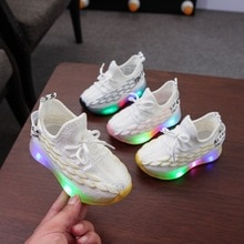 Children's Lighted Coconut Shoes Baby Sports Summer Mesh Fly Woven Soft Bottom Comfortable and Breat