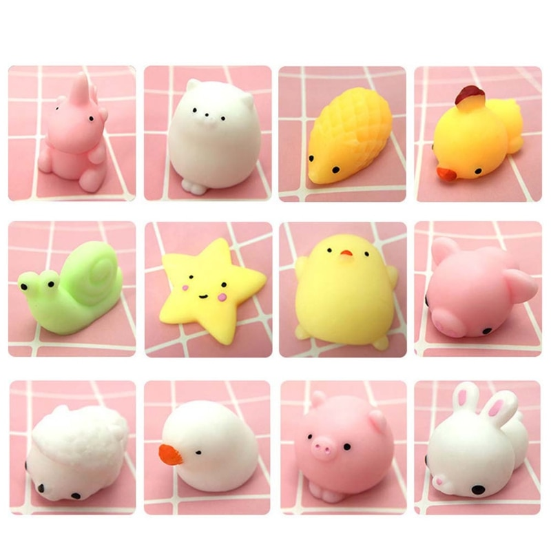 50pcs Mini Cute Animals Squishy Toys Anti Stress Relief Squeeze Toy Squishi Gift enlarge