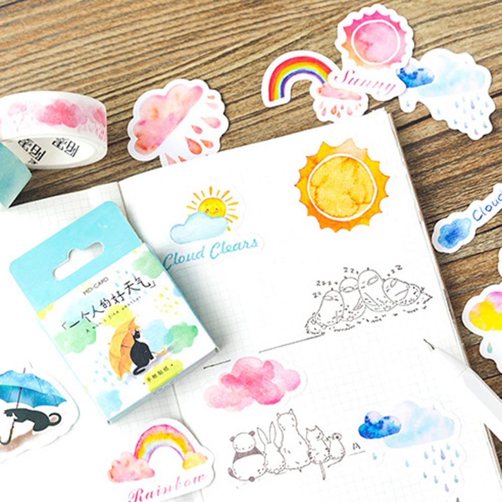 45pcs/pack Lovely Weather Decorative Adhesive Sticker Tape Kids Diy Craft Scrapbooking Set For Diary, Album